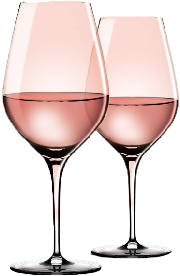 Two Pink Wine Glasses Transparent